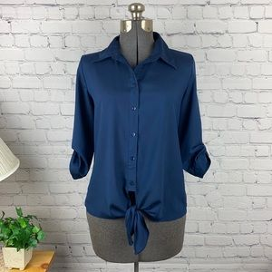 By & By Navy Button Down Blouse medium
